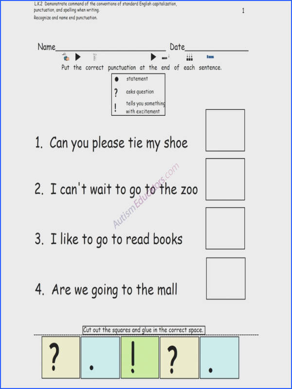 Punctuation worksheets students can put the correct punctuation at the end of the sentence