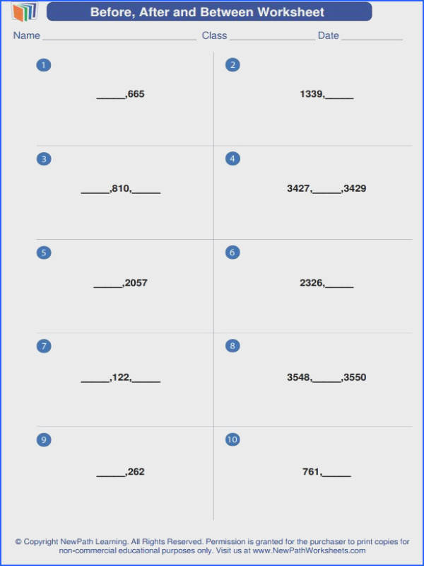 "A new math worksheet generator about ""Before After and Between"""