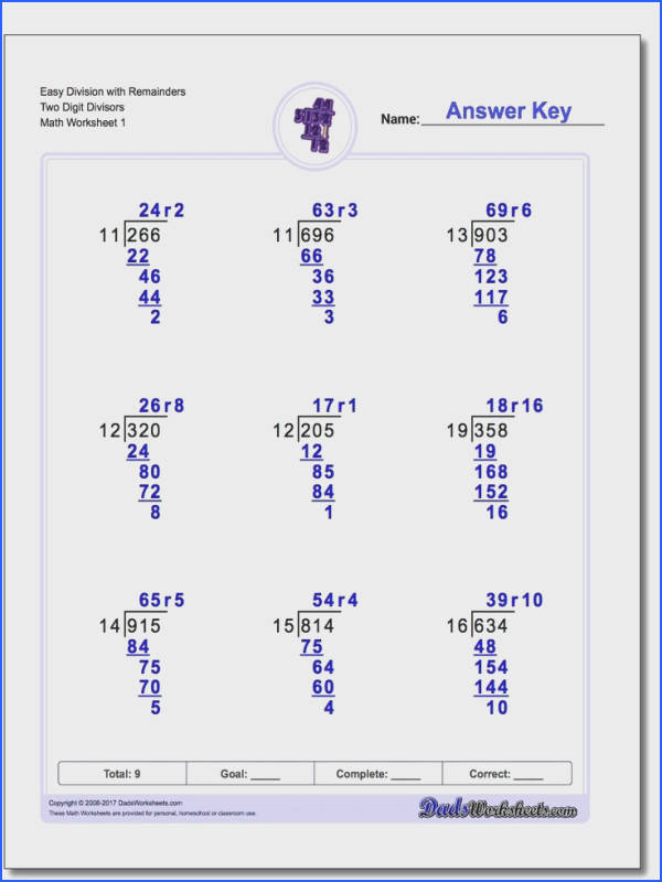 Long Division Worksheets with Multi Digit Divisors
