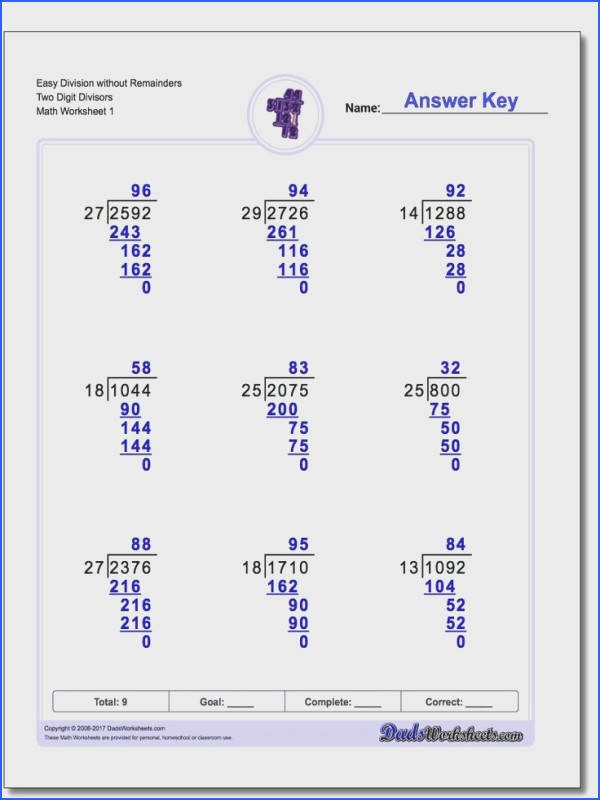 The long division worksheets in this section of the site are designed to introduce various topics gradually so that long division skills are built
