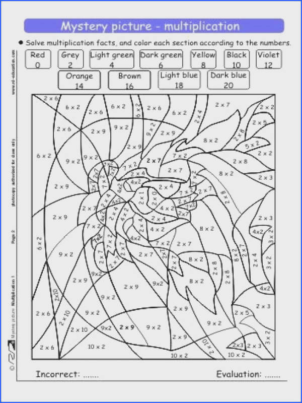 Multiplication Coloring Sheets on Mystery Picture Multiplication 1 Jpg