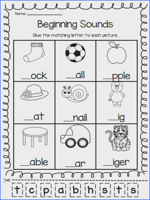 1st grade Kindergarten Preschool Reading Writing Worksheets What s the first letter a to h