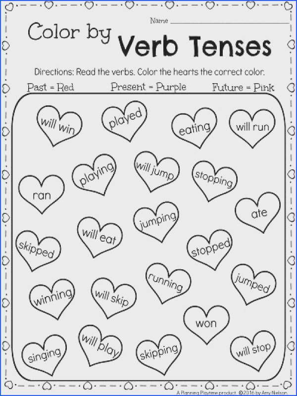 1st Grade February Worksheets Color by Verb Tenses Past Present and Future