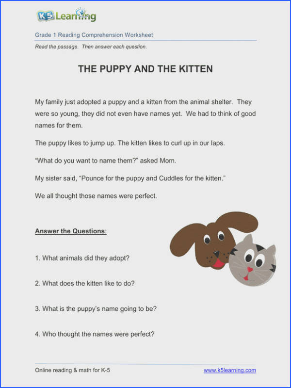 1st grade reading prehension worksheet