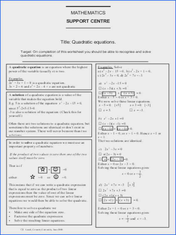 MATHEMATICS SUPPORT CENTRE Title Quadratic equations 0