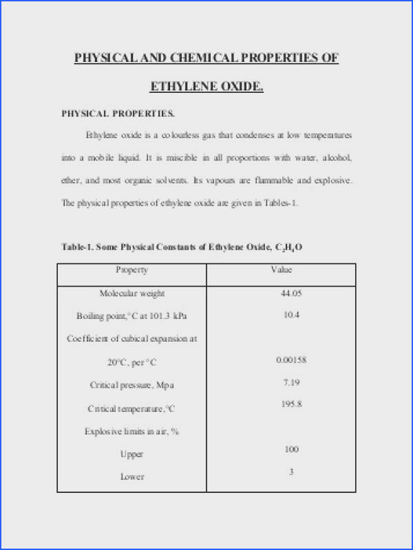 PHYSICAL AND CHEMICAL PROPERTIES OF ETHYLENE OXIDE