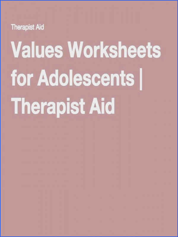Values Worksheets for Adolescents