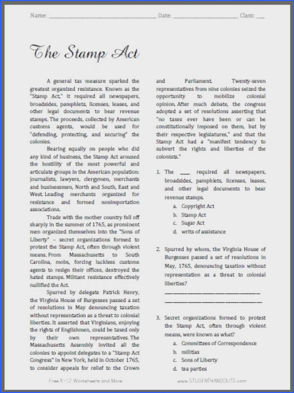 The Stamp Act Free Printable American History Reading with Questions for Grades 9 12