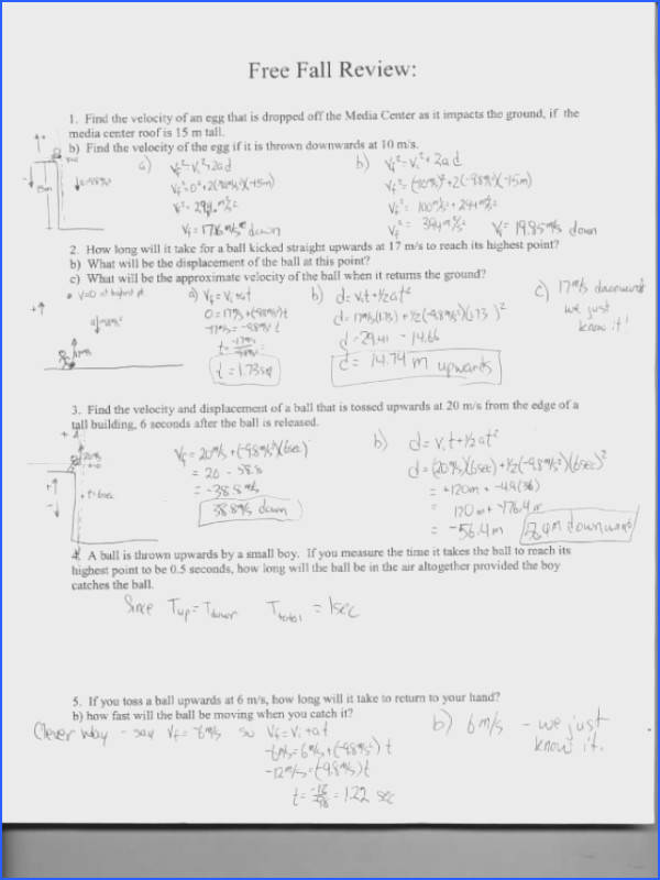 physics friction worksheet freefall review