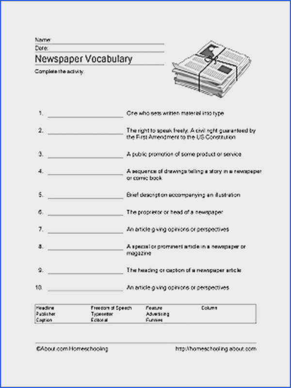 Newspaper Word Search Vocabulary Crossword and More