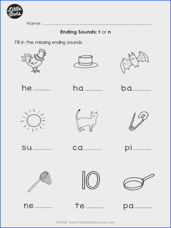 Free ending sounds worksheet for t and n for preschool or kindergarten class