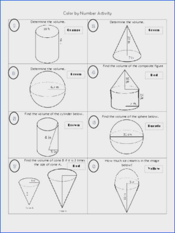 Volume of Cylinders Cones and Spheres Color