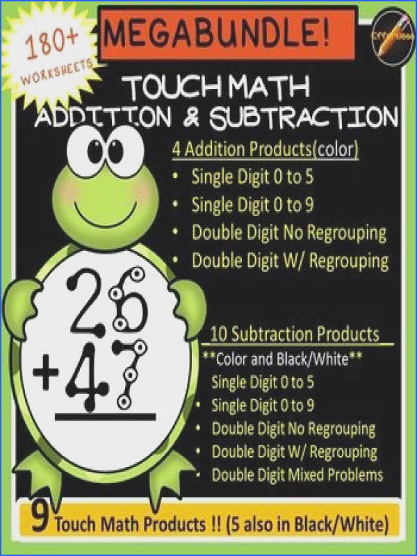 180 color worksheets and 100 Black and White corresponding worksheets of Touch Math with a cute