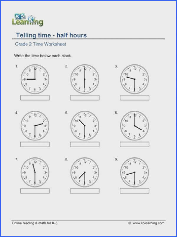 Grade 2 telling time Worksheet on telling time half hours