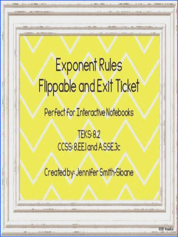 Exponent Rules Flippable and Exit Ticket product from 4mulaFun on TeachersNotebook