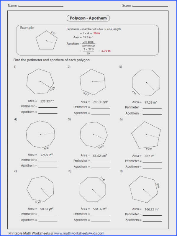 Find the perimeter and apothem of each polygon