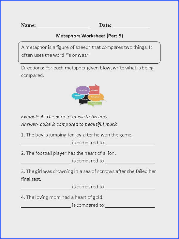 Metaphor Meanings Worksheet Part 3