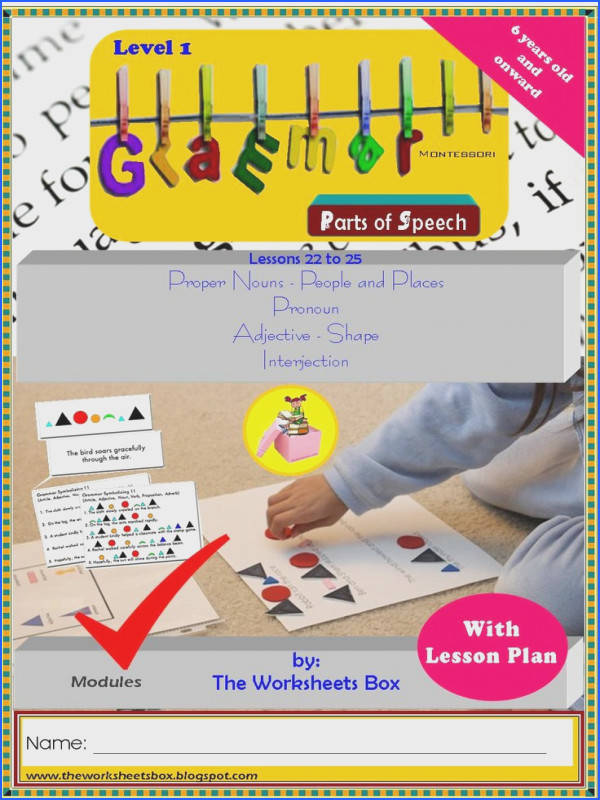 Montessori Grammar Level 1 Step by Step Lessons on Parts of Speech