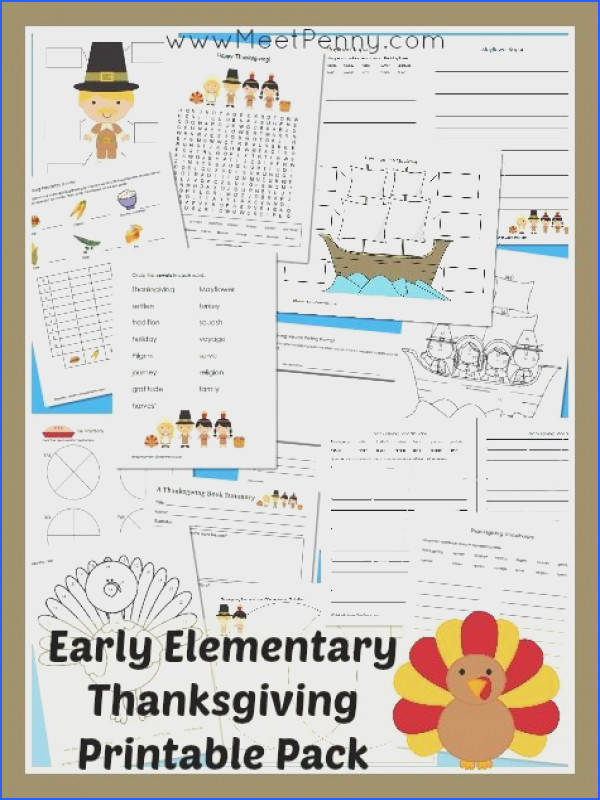 Early Elementary Thanksgiving printable activity pack with 25 pages Free for Premium Members or $2 99