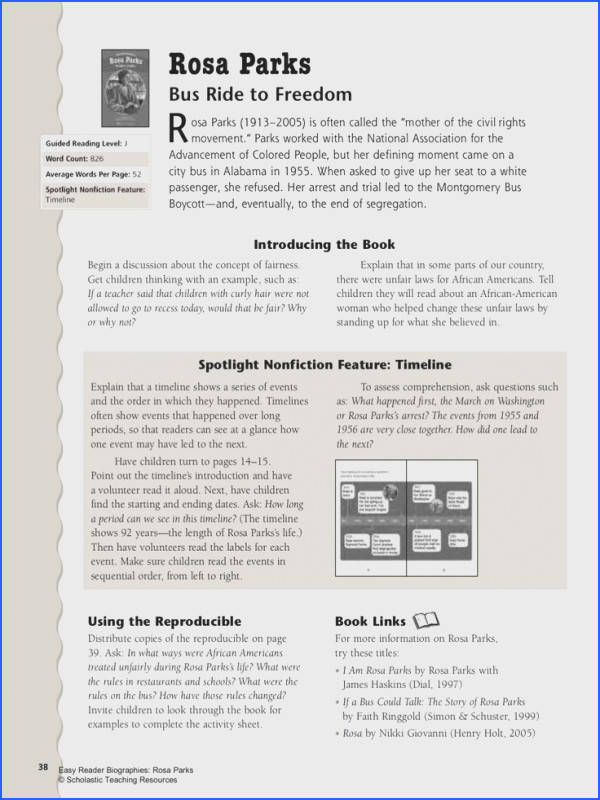 Use this Lesson Plan and Worksheet to support your students reading of the Rosa Parks Easy Reader Biography