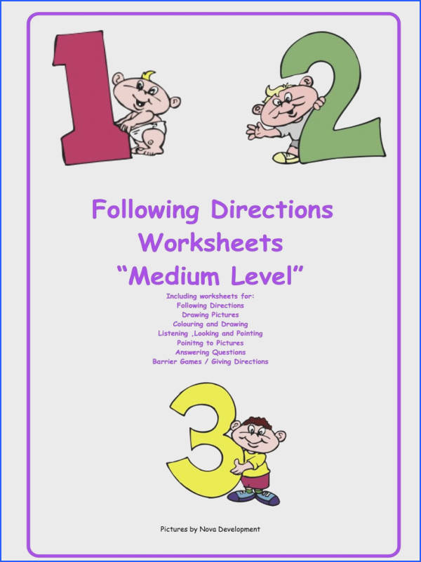 These are worksheets that can be used for an individual or with a whole class They focus on following directions at a medium level of difficulty