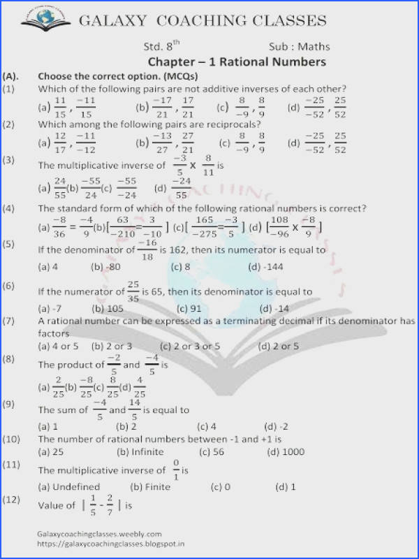 Galaxy Coaching Classes worksheet class 8 ch 1 rational numbers