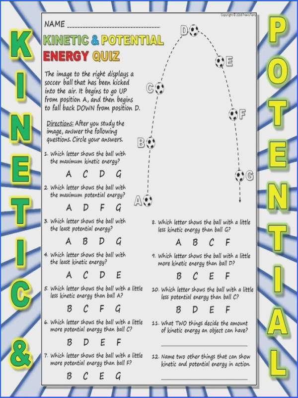 Worksheet Kinetic Vs Potential Energy 1