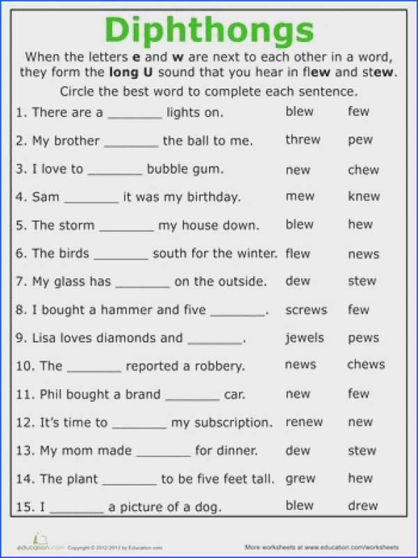 Second Grade Phonics Worksheets Practice Reading Vowel Diphthongs ew