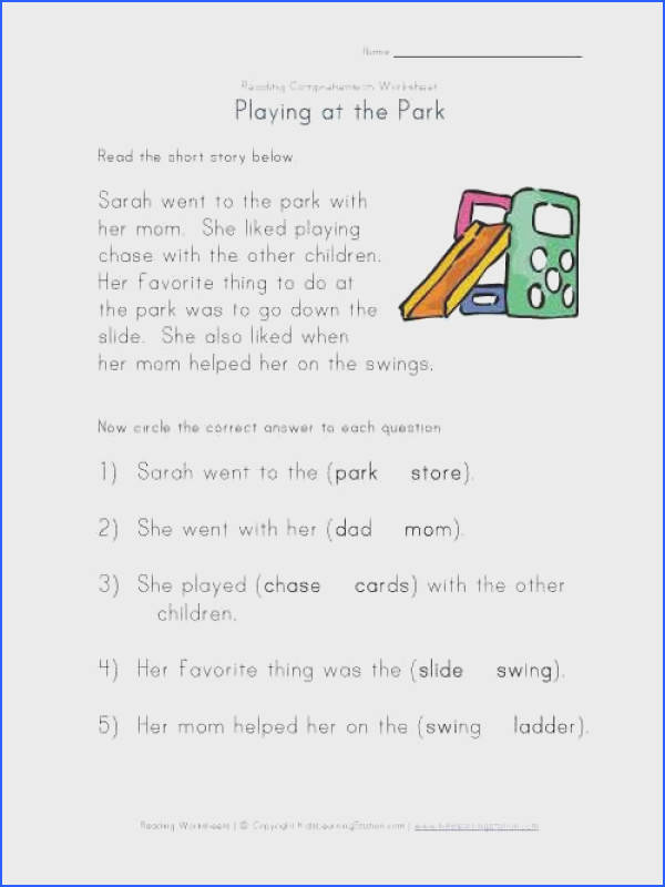 plete the Sentences Going to the Park Reading prehension Worksheet Kindergarten