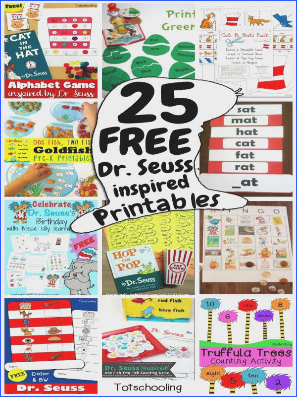 25 FREE Dr Seuss educational printables and worksheets for preschool and kindergarten Perfect for