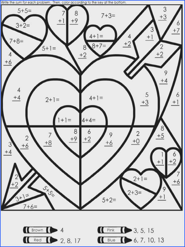 Valentine Math Color the Sum Addition Worksheet