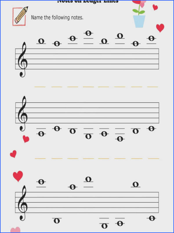 Music Worksheets Valentine Notes Ledger Lines 002