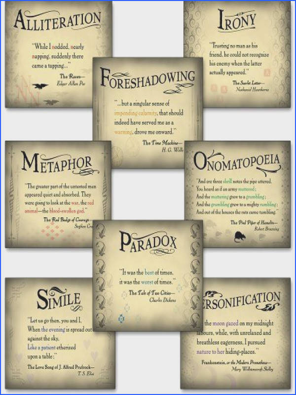 Literary Tools Set of Eight Literary Arts Posters Featuring Foreshadowing Irony Metaphor