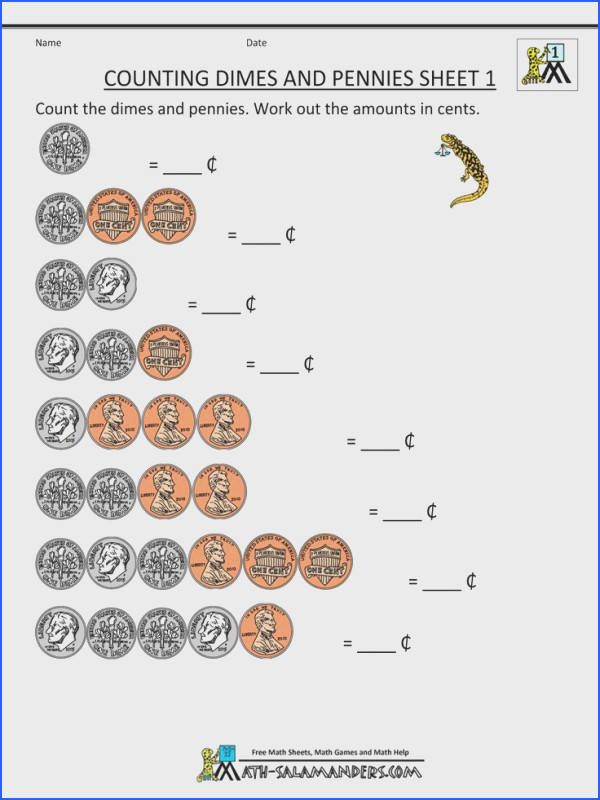 counting money worksheet dimes and pennies 1