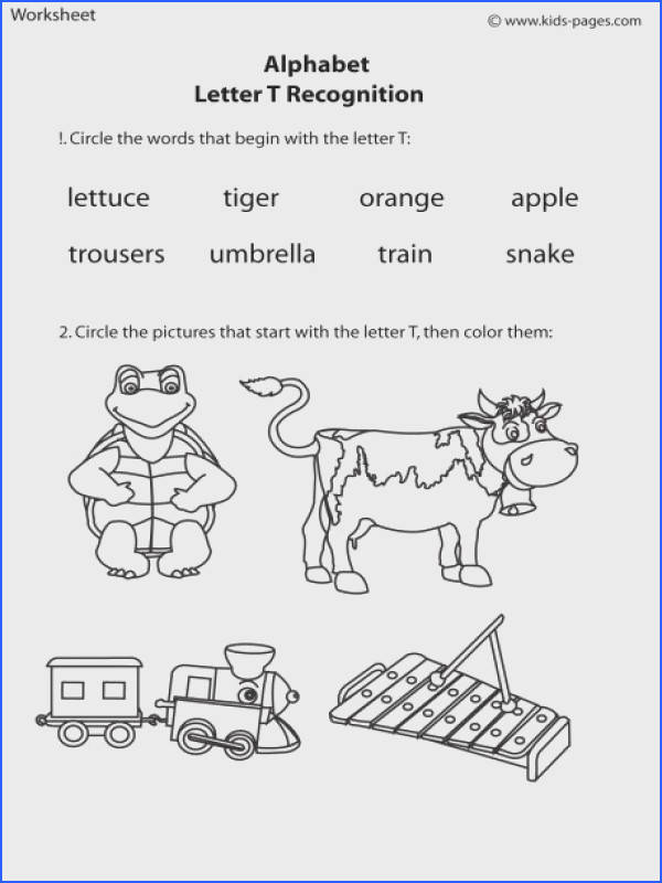 Letter T Recognition worksheets