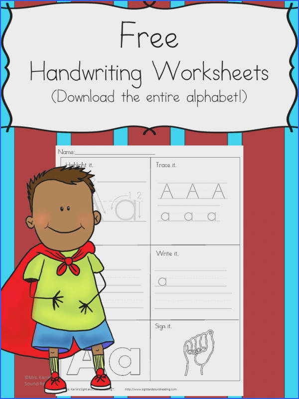 Printable Handwriting Worksheets for Kids Mrs Karle s Sight and Sound Reading