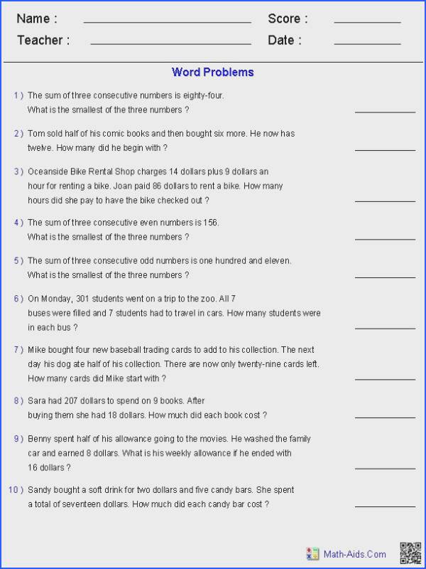 Two Step Equation Word Problems Worksheets
