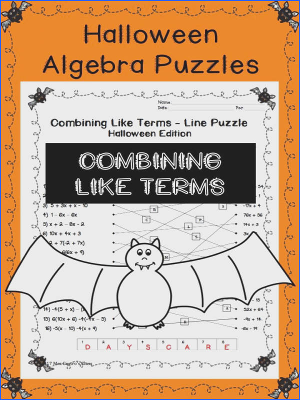 Distributive Property And Bining Like Terms Worksheet Mychaume. Algebra Halloween Activities Puzzles For High School Bining Like Terms Multi. Worksheet. Distributive Property Puzzle Worksheet At Mspartners.co