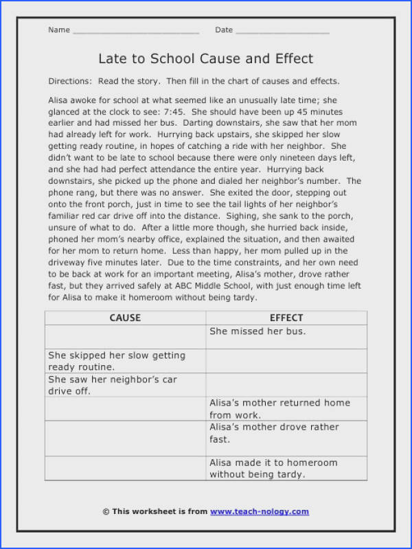 Late to School Cause and Effect Worksheet
