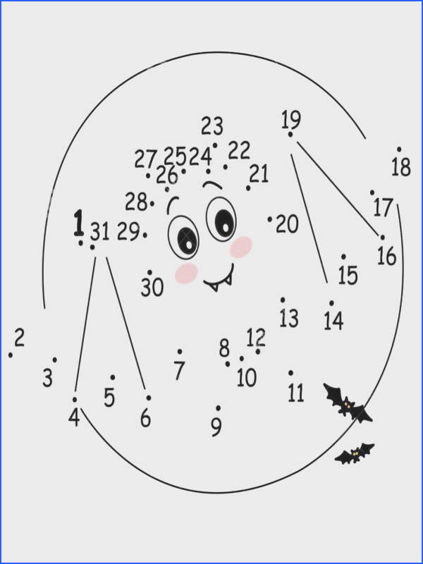 Dot to Dot PrintableHalloween Bat Worksheet for Kids