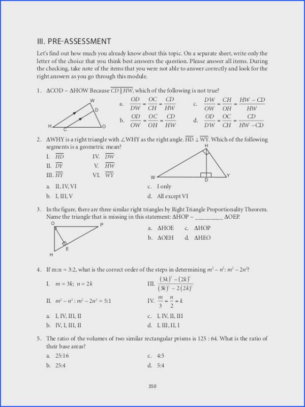 Triangle Congruence Worksheet 1 Answer Key Elegant Grade 9 Mathematics Module 6 Similarity 30 Beautiful