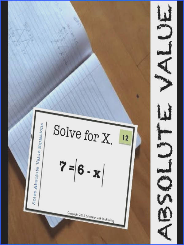 Absolute Value Equations Task Card Activity Great for scavenger hunts