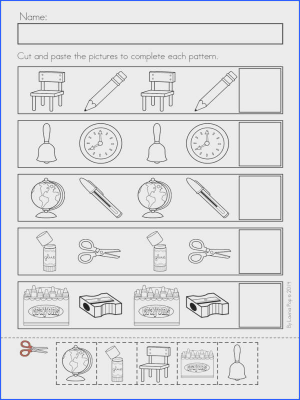 Kindergarten Back to School Math & Literacy Worksheets and Activities 135 pages A page from the unit AB patterns by Beth Bayer Summers