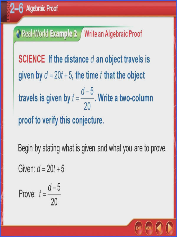 Algebraic Proofs Worksheet New Over Lesson 2–5 5 Minute Check 1 In the Figure