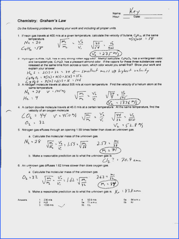 Ideal Gas Law Worksheet Elegant Charles Law Worksheet & Worksheets Charles Law Worksheet Answers 30
