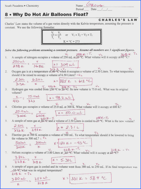 Ideal Gas Law Worksheet Elegant Boyles and Charles Law Worksheet Worksheets for All 30 Inspirational