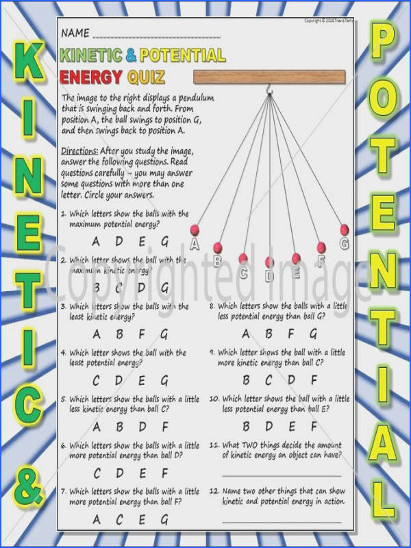 Worksheet Kinetic Vs Potential Energy 3