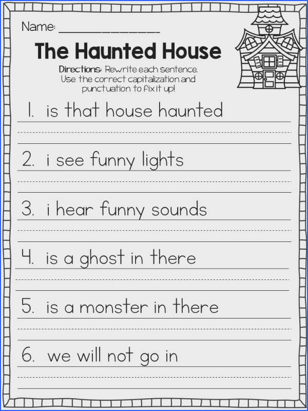 Included in this packet are 15 October themed fix it up sentences worksheets 86 sentences
