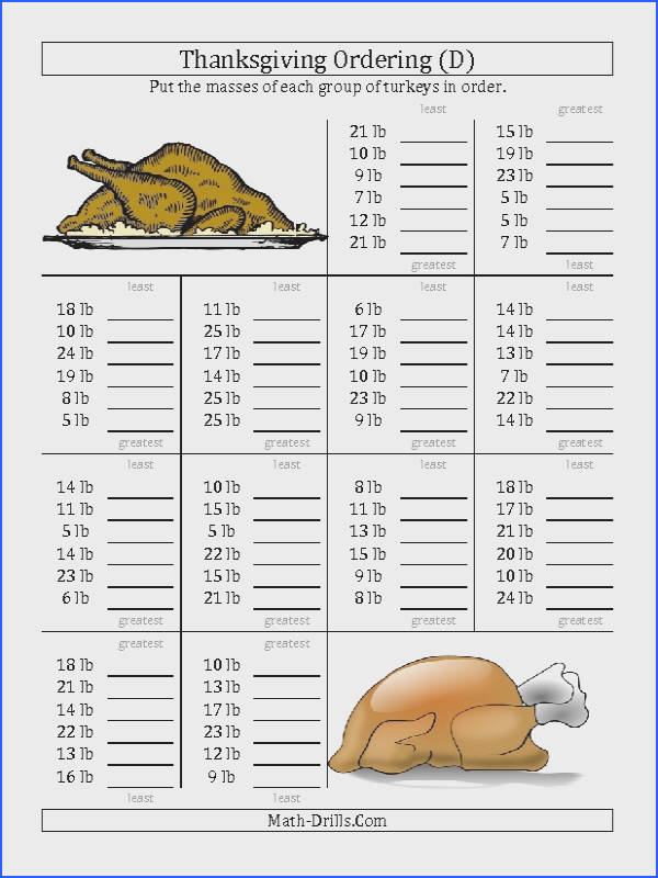 Thanksgiving Math Worksheet Ordering Turkey Masses in Pounds D