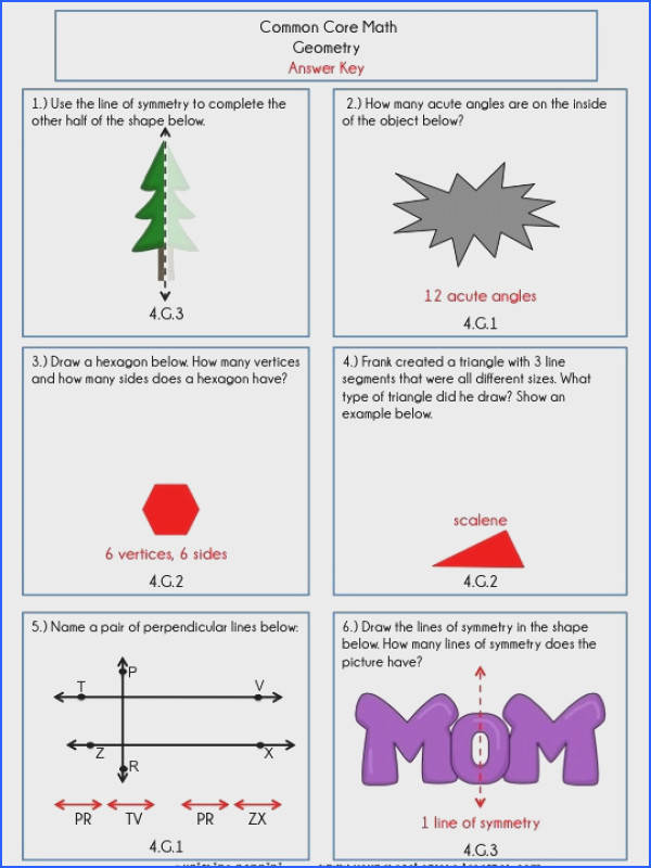 4th Grade mon Core Math Review or Homework Problems Geometry Test Prep